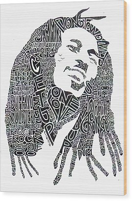 Bob Marley Black And White Word Portrait Wood Print by Kato Smock