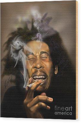 Bob Marley-burning Lights 3 Wood Print by Reggie Duffie
