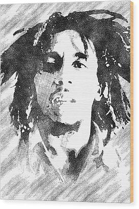 Bob Marley Bw Portrait Wood Print