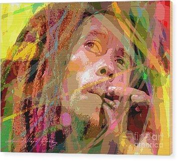 Bob Marley Wood Print by David Lloyd Glover