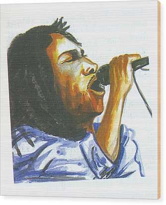 Wood Print featuring the painting Bob Marley by Emmanuel Baliyanga