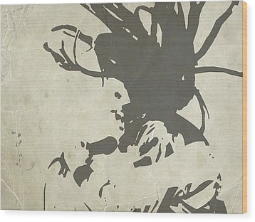 Bob Marley Grey Wood Print by Naxart Studio