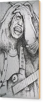 Wood Print featuring the drawing Bob Marley In Ink by Joshua Morton
