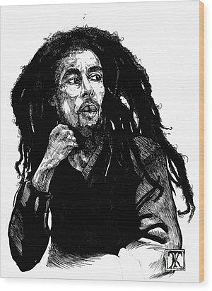Bob Marley Wood Print by Keith  Thurman