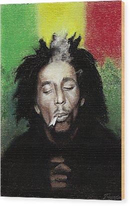 Bob Marley- Smoke Break Wood Print by Raymond L Warfield jr