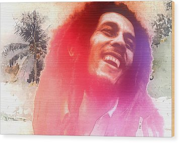 Bob Marley Wood Print by Steve K
