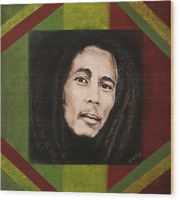 Wood Print featuring the painting Bob Marley by Teresa Wing