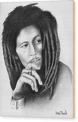 Wood Print featuring the drawing Bob Marley by Wayne Pascall