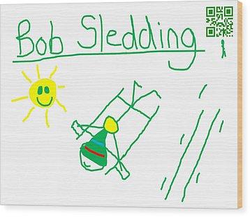 Bob Sledding Wood Print by Jeffrey Church