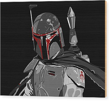 Boba Fett Star Wars Pop Art Wood Print by Paul Dunkel
