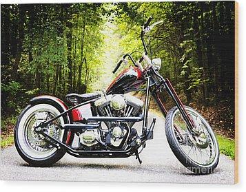 Bobber Harley Davidson Custom Motorcycle Wood Print by Kim Fearheiley