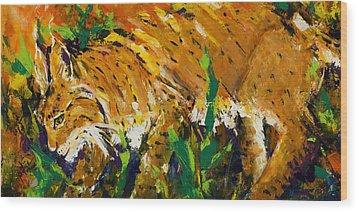 Bobcat Wood Print by Mary DuCharme