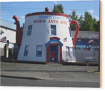 Bob's Java Jive Coffee Pot Wood Print by Kym Backland