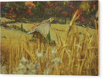 Wood Print featuring the digital art Bobwhite In Flight by Chris Flees