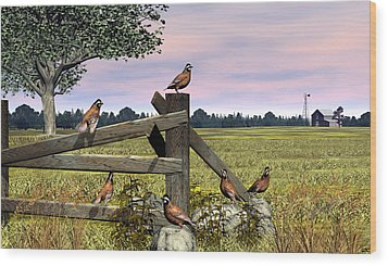 Bobwhite Quail Wood Print by Walter Colvin