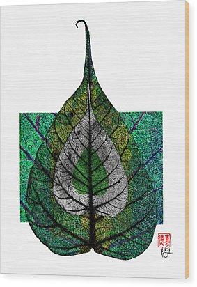 Bodhi Leaf Wood Print by Peter Cutler