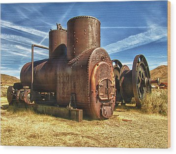 Old Boiler Bodie State Park Wood Print by James Hammond