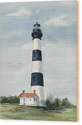 Wood Print featuring the painting Bodie Island Lighthouse by Nancy Patterson