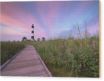 Bodie Island Obx Sunrise Wood Print by Mark VanDyke
