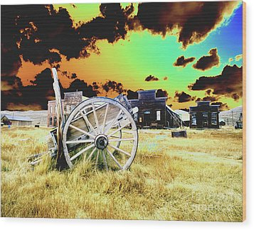 Wood Print featuring the photograph Bodie Wagon by Jim and Emily Bush