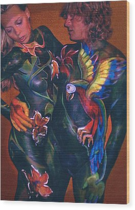 Body Paint Parrot Wood Print by Michael Rutland