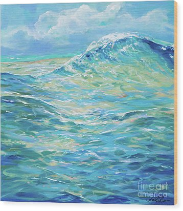 Bodysurfing Rolling Wave Wood Print