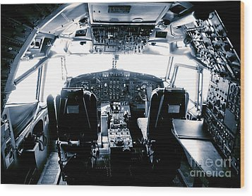 Wood Print featuring the photograph Boeing 747 Cockpit 22 by Micah May