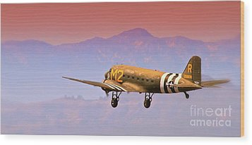 Boeing Douglas C-47 To Normandy June 6th 1944 Wood Print