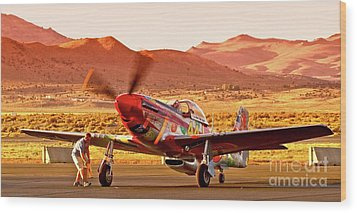 Boeing North American P-51d Sparky At Sunset In The Valley Of Speed Reno Air Races 2010 Wood Print by Gus McCrea
