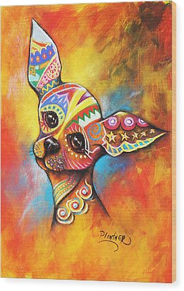 Wood Print featuring the drawing Chihuahua by Patricia Lintner