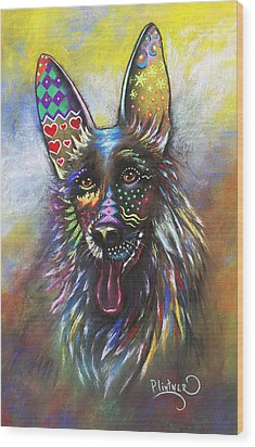 Wood Print featuring the mixed media German Shepherd by Patricia Lintner