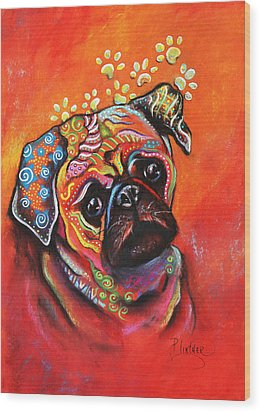 Wood Print featuring the mixed media Pug by Patricia Lintner