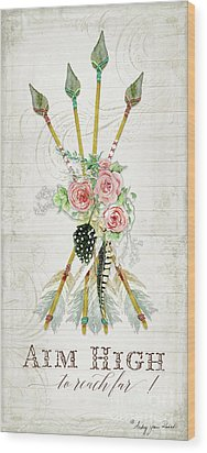 Wood Print featuring the painting Boho Western Arrows N Feathers W Wood Macrame Feathers And Roses Aim High by Audrey Jeanne Roberts