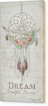 Wood Print featuring the painting Boho Western Dream Catcher W Wood Macrame Feathers And Roses Dream Beautiful Dreams by Audrey Jeanne Roberts