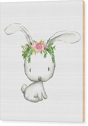 Boho Woodland Bunny Floral Watercolor Wood Print