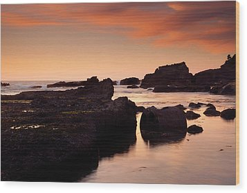 Boiler Bay Sunset Wood Print by Mike  Dawson