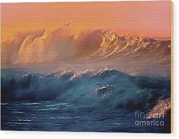 Boisterous Seas And Gull Wood Print