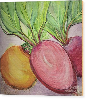 Wood Print featuring the painting Bold Beets by Kim Nelson