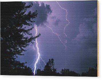 Bold Lightning Strokes Wood Print by Deborah Smolinske