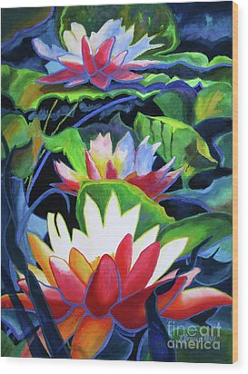 Wood Print featuring the painting Bold Lilypads by Kathy Braud