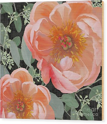 Bold Peony Seeded Eucalyptus Leaves Wood Print by Audrey Jeanne Roberts