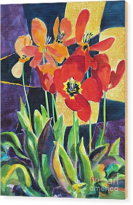 Bold Quilted Tulips Wood Print by Kathy Braud
