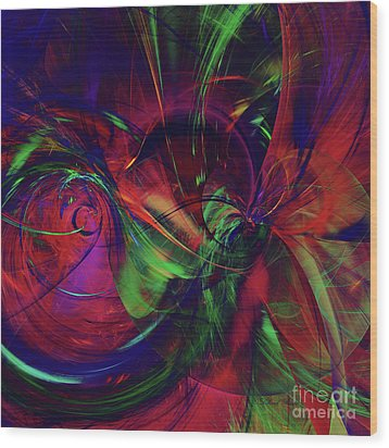 Wood Print featuring the digital art Bold Red by Deborah Benoit