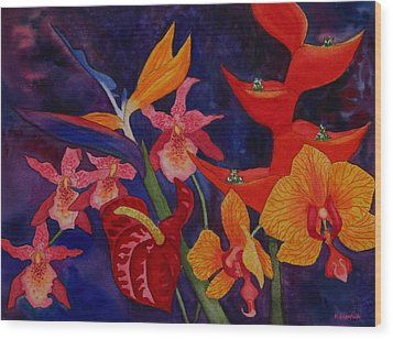 Wood Print featuring the painting Bold Tropical Flowers by Kerri Ligatich