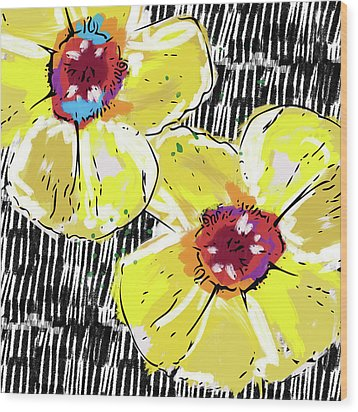 Wood Print featuring the mixed media Bold Yellow Poppies- Art By Linda Woods by Linda Woods