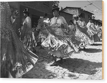 Bolivian Dance Black And White Wood Print by For Ninety One Days