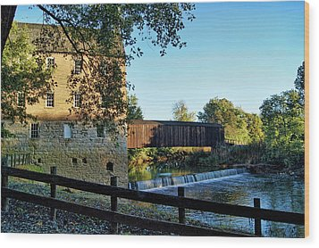 Wood Print featuring the photograph Bollinger Mill And Bridge by Cricket Hackmann