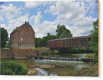 Bollinger Mill And Covered Bridge Wood Print by Marty Koch