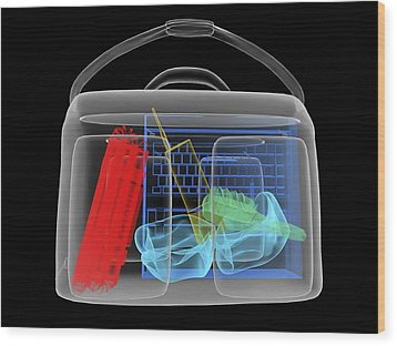 Bomb Inside Briefcase, Simulated X-ray Wood Print by Christian Darkin