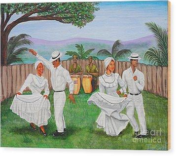 Bomba Dance Wood Print by Juan Gonzalez
